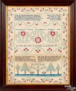 Silk on linen sampler, dated 1818