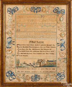 Silk on linen needlework sampler, dated 1813
