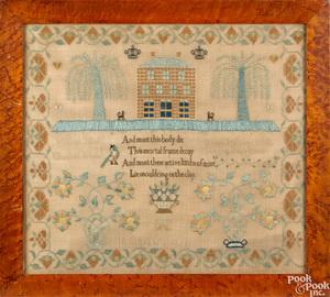 Silk on linen needlework sampler
