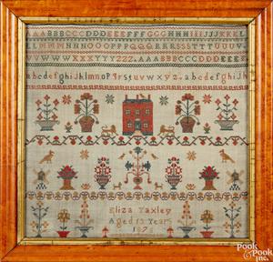 Silk on linen sampler dated 1875