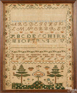Silk on linen needlework sampler, ca. 1784