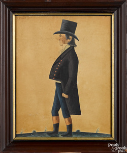 Jacob Maentel pair of watercolor portraits