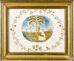Unusual silk on silk embroidery, 19th c.
