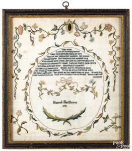 Philadelphia silk on gauze sampler, dated 1793
