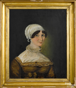 Oil on canvas portrait of a young woman, ca. 1835