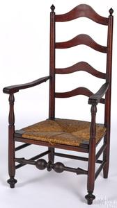 Delaware Valley ladderback armchair, mid 18th c.