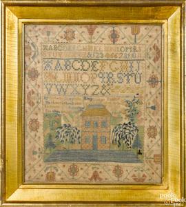Burlington New Jersey silk on linen house sampler