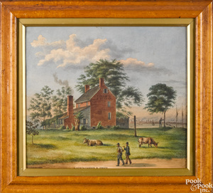 Augustus Kollner two New Jersey watercolor scenes