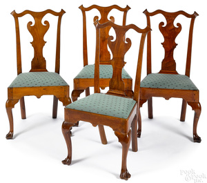 Set of four Queen Anne walnut dining chairs