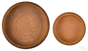 Two Pennsylvania redware plate molds