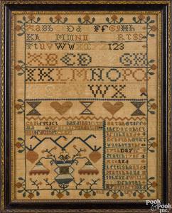 Philadelphia silk on linen sampler, ca. 1796