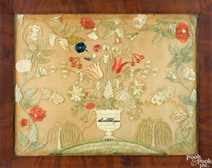 Large silk crewelwork embroidery, dated 1831