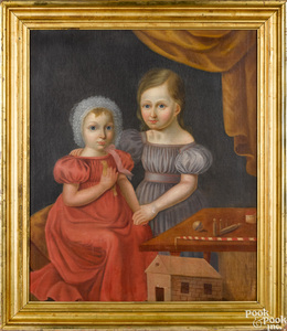 Oil on canvas portrait of two children