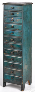 Painted pine twelve-drawer chest, late 19th c.