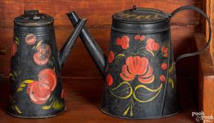Two toleware coffee pots, 19th c.
