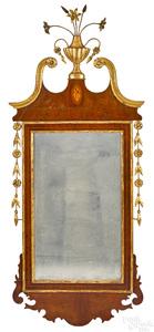 Federal mahogany and parcel gilt mirror, ca. 1800