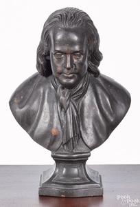 Carved mahogany bust of Benjamin Franklin, 19th c