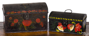 Two toleware dome lid boxes, 19th c.