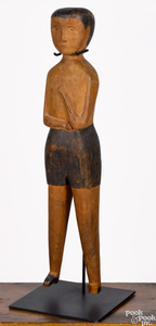 Carved and painted figure of a gentleman, 19th c.