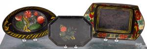 Three toleware trays, 19th c.