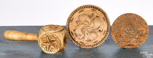 Three carved butterprints, 19th c.