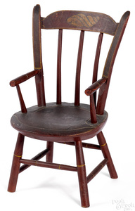 Miniature painted plank seat chair, mid 19th c.