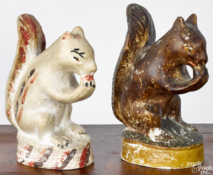 Two painted chalkware squirrels, 19th c.