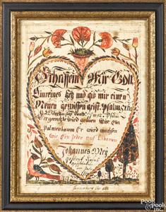 Pennsylvania fraktur on paper religious text