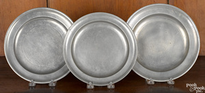 Three American pewter plates, early 19th c.