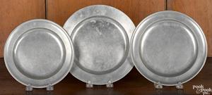 Three Boston, Massachusetts pewter plates