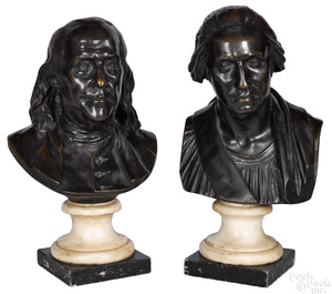 After Jean Antoine Houdon pair of bronze busts