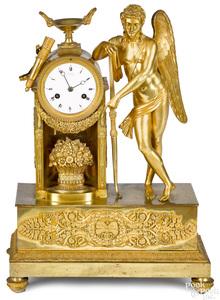French gilt bronze Eros mantel clock 19th c.
