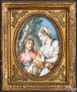 Pair of Continental watercolor allegorical scenes
