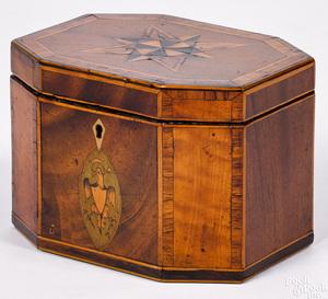 Mahogany tea caddy, ca. 1800