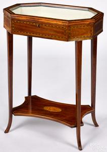 Hepplewhite inlaid mahogany vitrine, ca. 1800