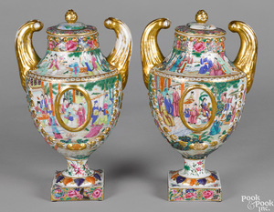 Pair of Chinese export famille rose porcelain urn