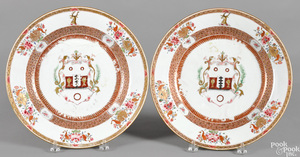 Pair of Chinese export porcelain armorial chargers