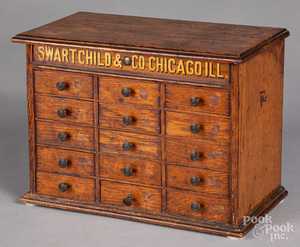 Swartchild & Co. Chicago oak watchmakers chest