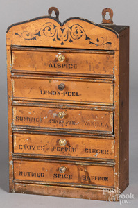 Painted tin spice cabinet, late 19th c.