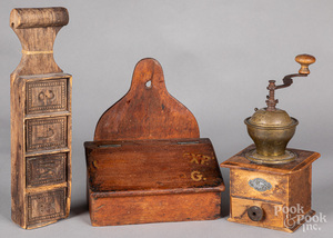 Walnut hanging salt box, 19th c.