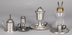 Four pewter whale oil lamps