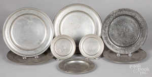 Eight Continental pewter plates, 18th/19th c.
