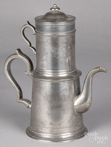 Rare pewter biggin teapot with strainer