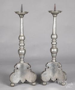 Pair of Continental pewter pricket sticks, 18th c