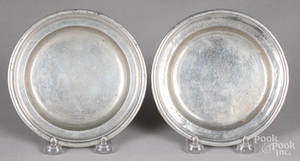 Two small pewter dishes
