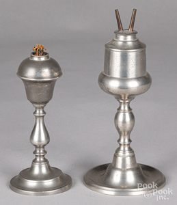 Two pewter whale oil lamps