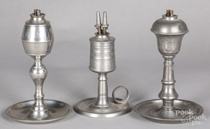 Three pewter whale oil lamps