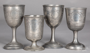 Four engraved pewter chalices