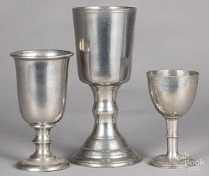 Three pewter chalices