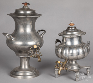 Two pewter hot water urns
